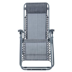 Front view of the Azuma textilene garden relaxer chair in dark grey marl.
