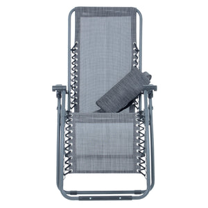 Azuma textilene garden relaxer chair in dark grey marl with cushion removed.