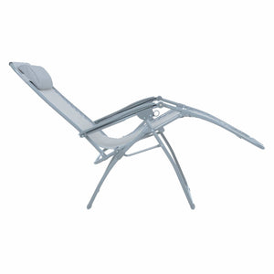 Full recline position of the Azuma textilene garden relaxer chair in silver grey.