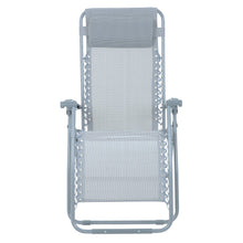 Load image into Gallery viewer, Front view of the Azuma textilene garden relaxer chair in silver grey.