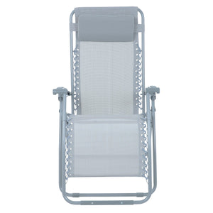 Front view of the Azuma textilene garden relaxer chair in silver grey.