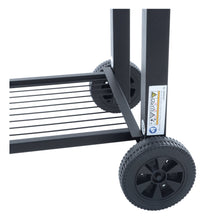 Load image into Gallery viewer, Azuma Rhino steel charcoal BBQ with large wheels.