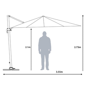 Scale of the Azuma Roma XL overhanging garden parasol.