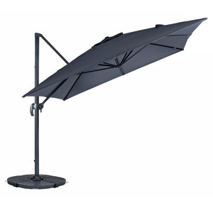 Azuma grey Roma XL overhanging garden parasol with tilt.