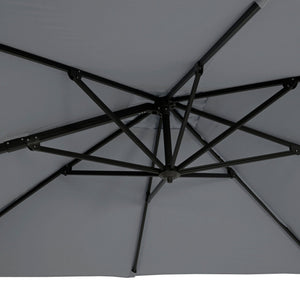 Azuma Roma XL overhanging garden parasol in grey umbrella ribs.