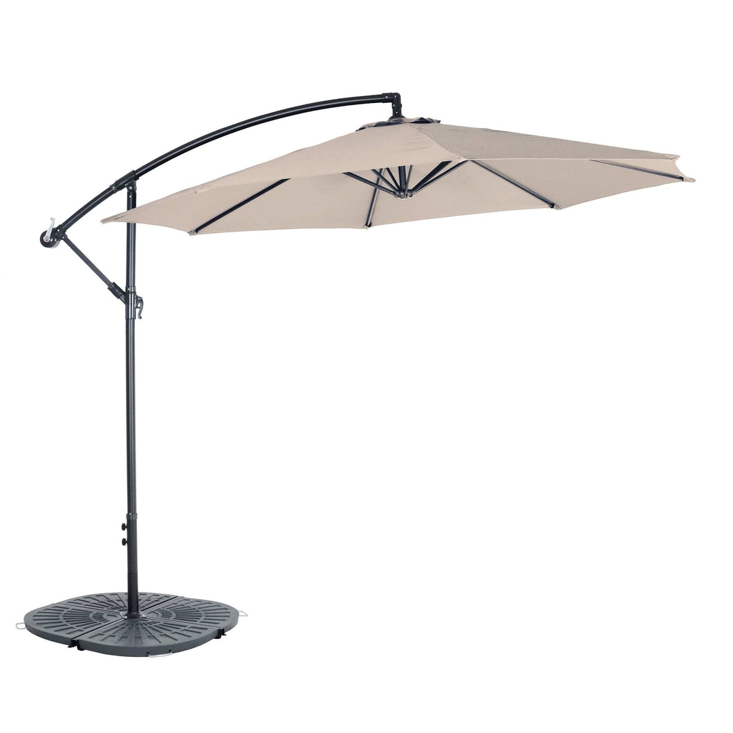 Azuma 3m Banana overhanging parasol in taupe.
