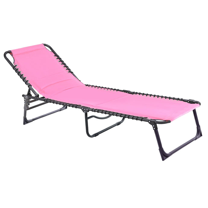 Azuma Pink Padded Garden Sun Lounger Fold Away Seat (Pre Order for delivery end July)