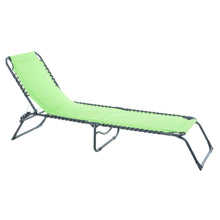 Load image into Gallery viewer, Azuma lime padded textilene fold away sun lounger.