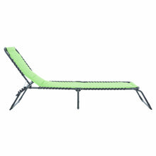 Load image into Gallery viewer, Side of the Azuma lime padded fold away sun lounger.