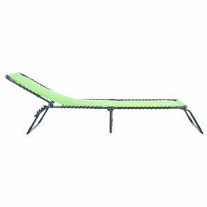 Azuma lime padded fold away sun lounger slight recline.
