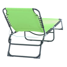 Load image into Gallery viewer, Back of the Azuma lime padded fold away sun lounger.