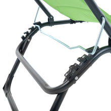 Load image into Gallery viewer, Close up of the Azuma lime padded fold away sun lounger.