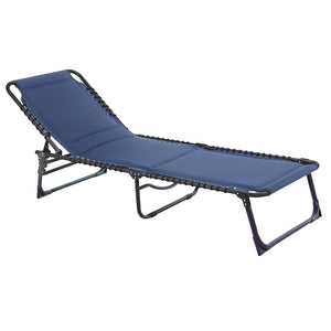 Azuma Navy Padded Garden Sun Lounger Fold Away Seat (Pre Order for delivery end July)