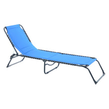 Load image into Gallery viewer, Azuma blue padded textilene fold away sun lounger.