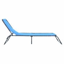Load image into Gallery viewer, Side of the Azuma blue padded fold away sun lounger.