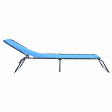 Load image into Gallery viewer, Azuma blue padded fold away sun lounger slight recline.