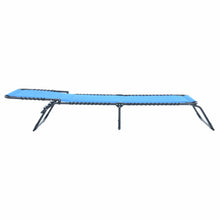 Load image into Gallery viewer, Azuma blue padded fold away sun lounger full recline.