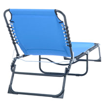 Load image into Gallery viewer, Back of the Azuma blue padded fold away sun lounger.