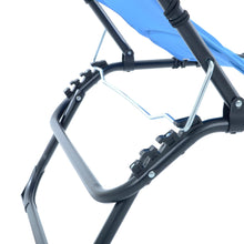 Load image into Gallery viewer, Close up of the Azuma blue padded fold away sun lounger.