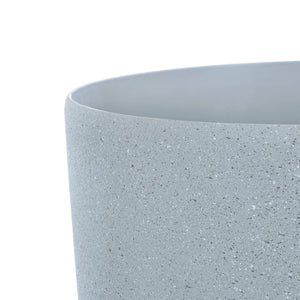 Close up of the Azuma grey stone effect round plant pot.