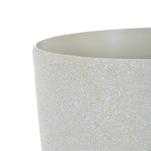 Load image into Gallery viewer, Close up of the Azuma beige stone effect round plant pot.