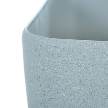 Load image into Gallery viewer, Close up of the Azuma grey stone effect square plant pot.