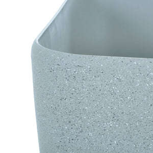 Close up of the Azuma grey stone effect square plant pot.
