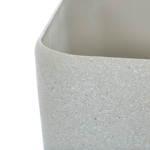 Close up of the Azuma beige stone effect square plant pot.