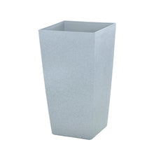 Load image into Gallery viewer, Azuma tall grey stone effect square plant pot.