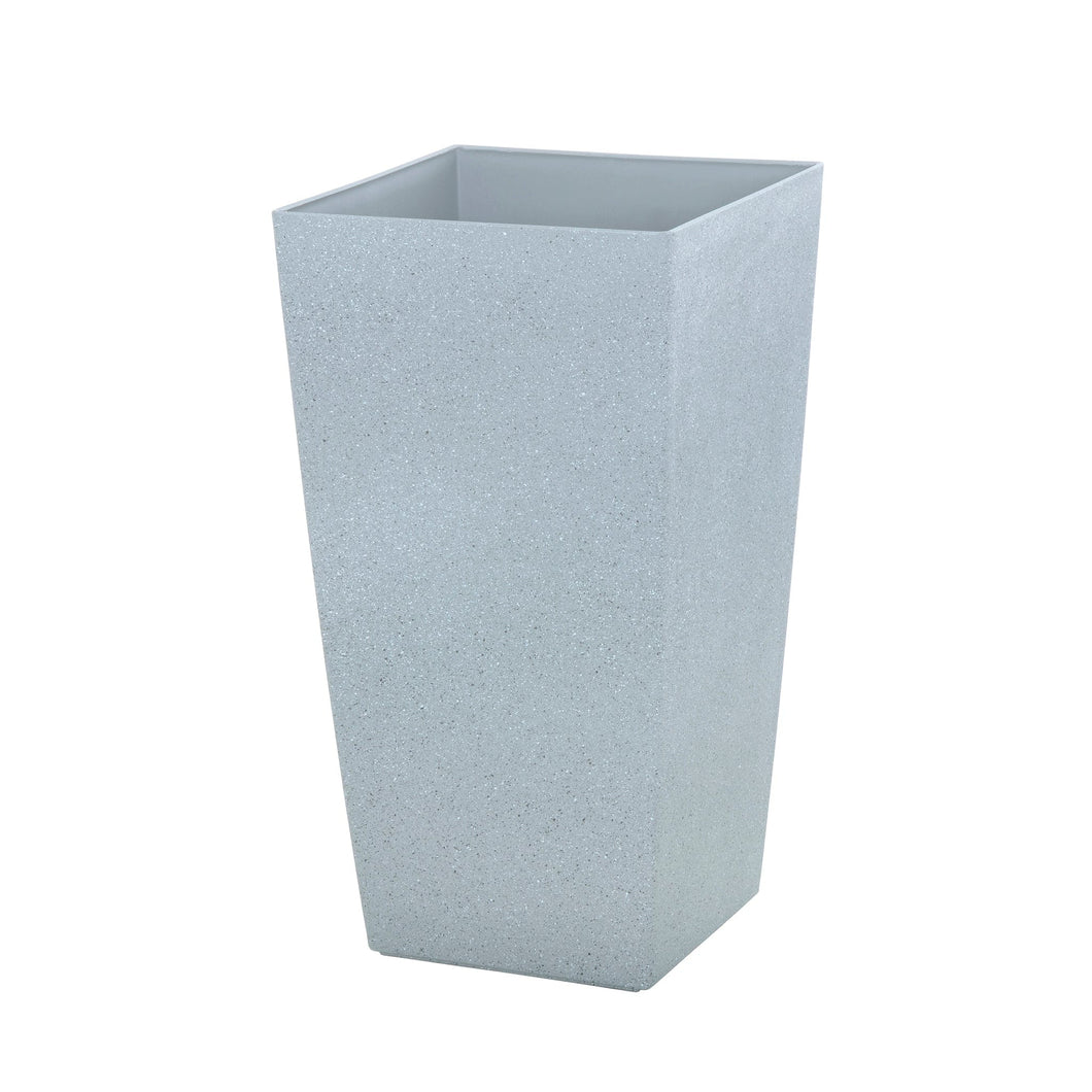 Azuma tall grey stone effect square plant pot.
