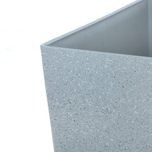 Load image into Gallery viewer, Close up of the Azuma tall grey stone effect square plant pot.