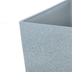 Close up of the Azuma tall grey stone effect square plant pot.