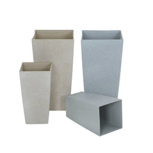 Load image into Gallery viewer, Azuma tall stone effect square plant pots.