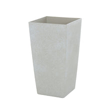 Load image into Gallery viewer, Azuma tall beige stone effect square plant pot.