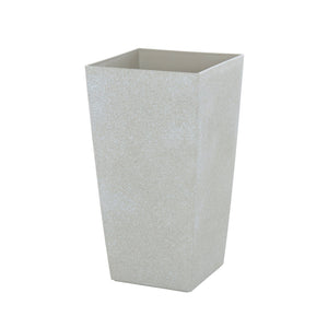 Azuma tall beige stone effect square plant pot.