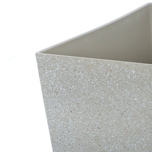 Close up of the Azuma tall beige stone effect square plant pot.