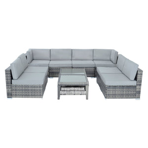 Azuma 8 seater Monaco grey rattan furniture set.