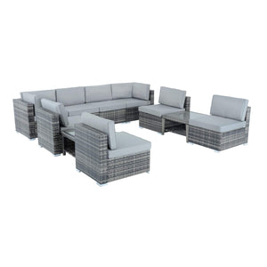 Azuma Monaco 10 Piece Grey Rattan Sofa Garden Furniture Set
