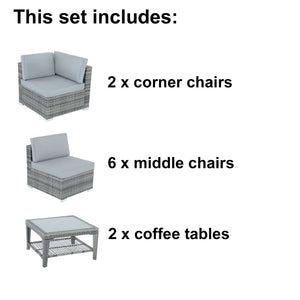 Contents for the Azuma Monaco 8 seater rattan garden furniture set.