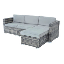 Load image into Gallery viewer, Monaco design 4 piece garden furniture set, 3 seataer garden sofa with grey rattan and light grey cushions