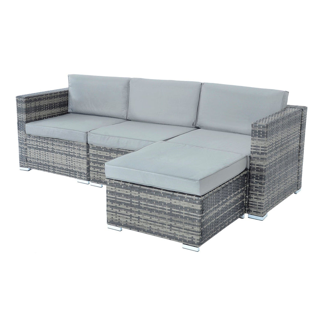 Monaco design 4 piece garden furniture set, 3 seataer garden sofa with grey rattan and light grey cushions