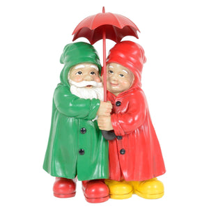 Novelty standing gnome couple garden ornament.