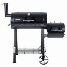 Load image into Gallery viewer, the azuma bandit charcoal smoker barbeque black steel bbq with thermometer front view