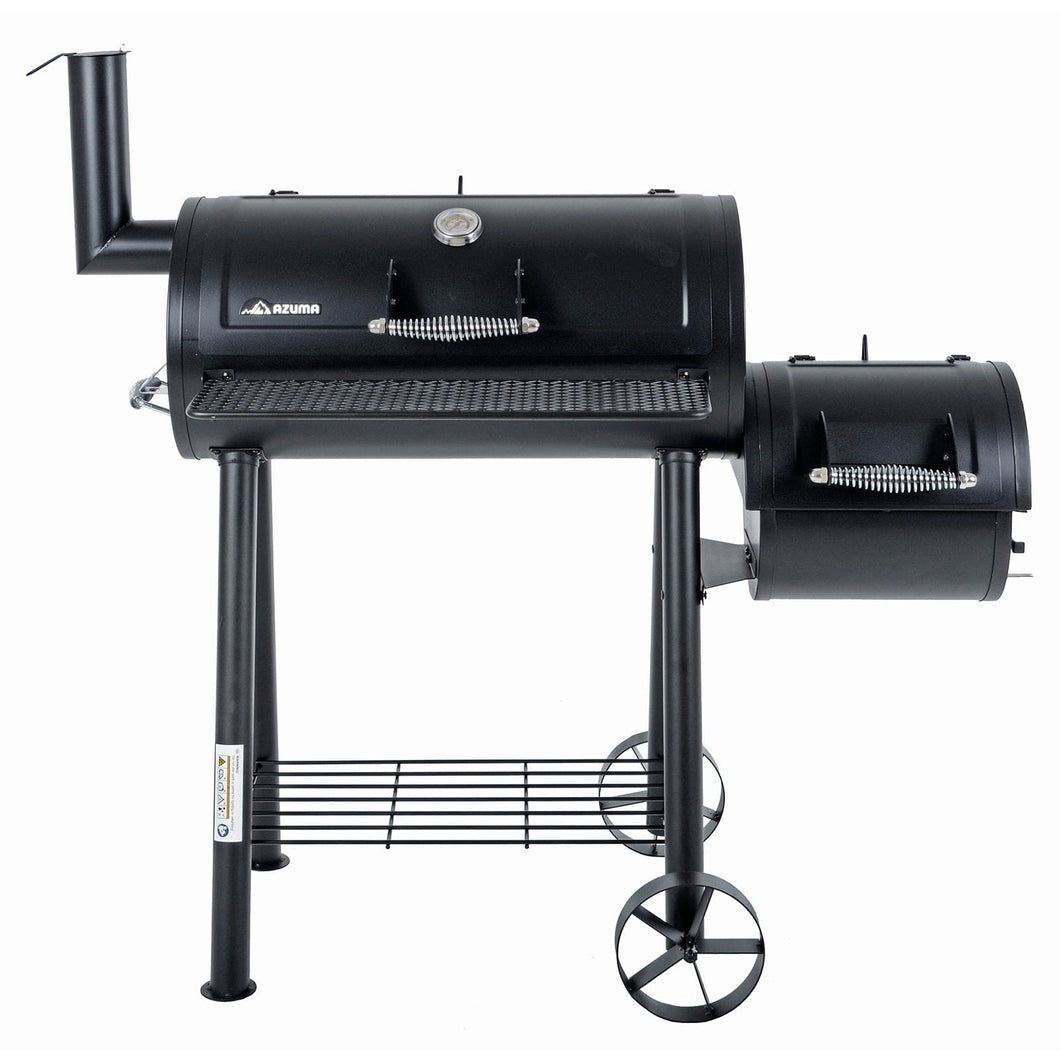 the azuma bandit charcoal smoker barbeque black steel bbq with thermometer front view