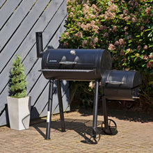 Load image into Gallery viewer, Azuma Bandit Barrel BBQ Black Steel Smoker Offset Firebox