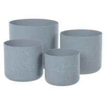 Load image into Gallery viewer, Azuma Set Of 4 Plastic Plant Pots Grey Sandstone 14-22cm