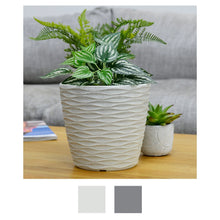 Load image into Gallery viewer, Azuma Weave Effect Plant Pot Plastic Planter Grey White
