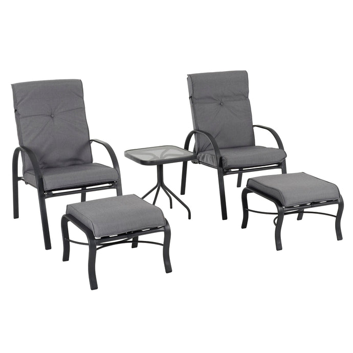 Azuma Cadiz 5 Piece Metal Garden Furniture Set Grey Cushions