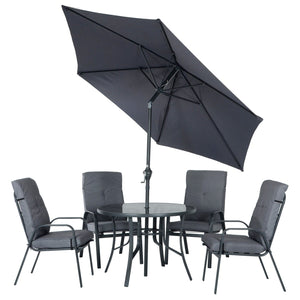 Azuma Cadiz 6 Piece Garden Furniture Dining Set Grey Metal