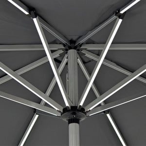 Azuma LED Garden Parasol 3m Light Up Grey Patio Umbrella